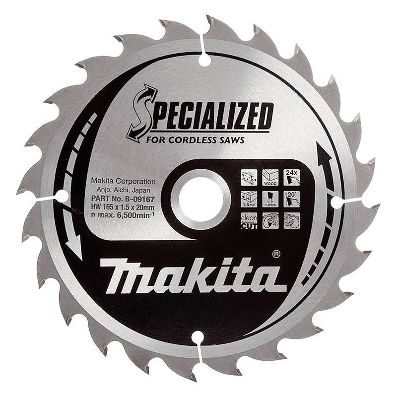 Lame de Scie Circulaire Carbure Makita B-09167 Ø 165mm x 20mm 24 Dents