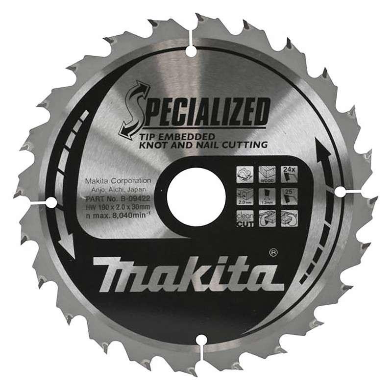 Lame de Scie Circulaire Carbure Makita B-09422 Ø 190mm x 30mm 24 Dents