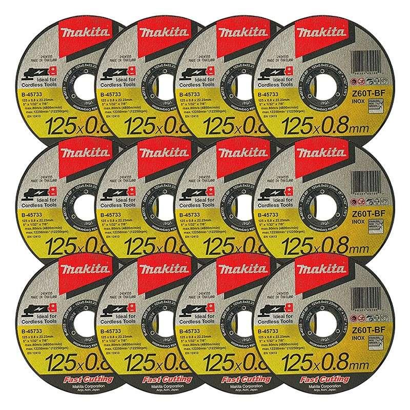 12 Disques à tronçonner métal et inox MAKITA B-45733-12 pour Meuleuse Ø 125mm