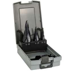 Coffret de 3 Fraise étagées Bosch Pro 2608588069 HSS-AlTiN queue 3 pans - Ø 4-12 / 4-20 / 6-30mm