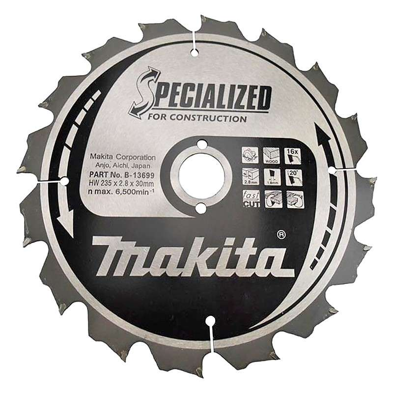 LAME DE SCIE CIRCULAIRE CARBURE MAKITA B-13699 Ø 235MM X 30MM 16 DENTS