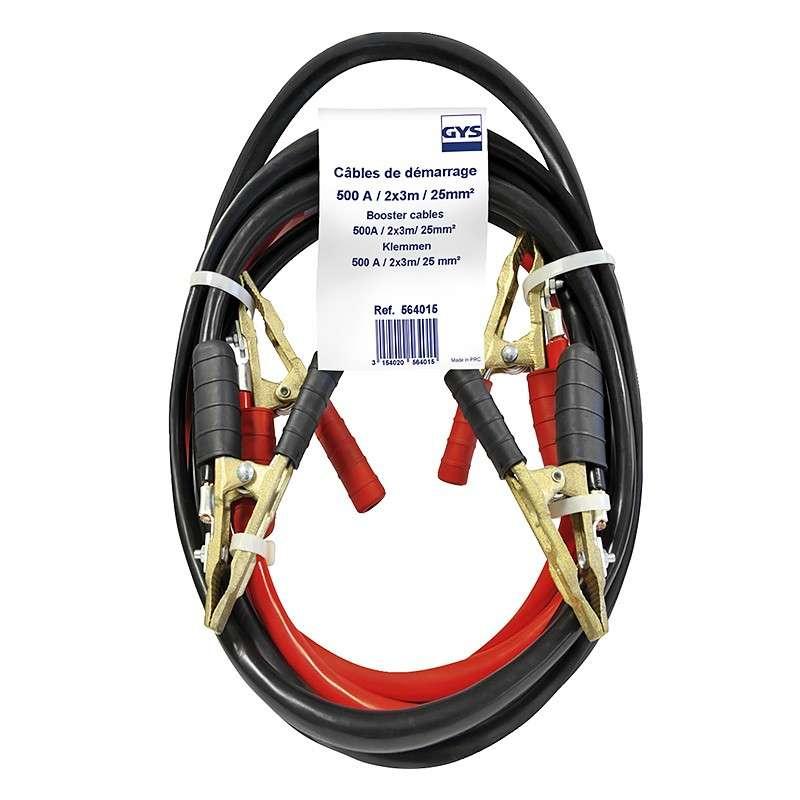 Cable de demarrage 500A 2x3m Ø25mm² Pinces Pro Laiton Pur GYS 564015