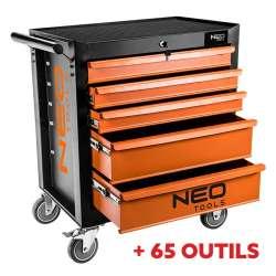 Pack servante d'atelier 5 tiroirs avec insert à outils NEO TOOLS 84-224 SET