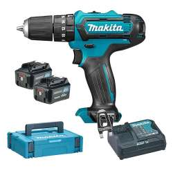 Perceuse visseuse à percussion MAKITA HP331DSMJ 10,8V Li-Ion CXT (2x4Ah)