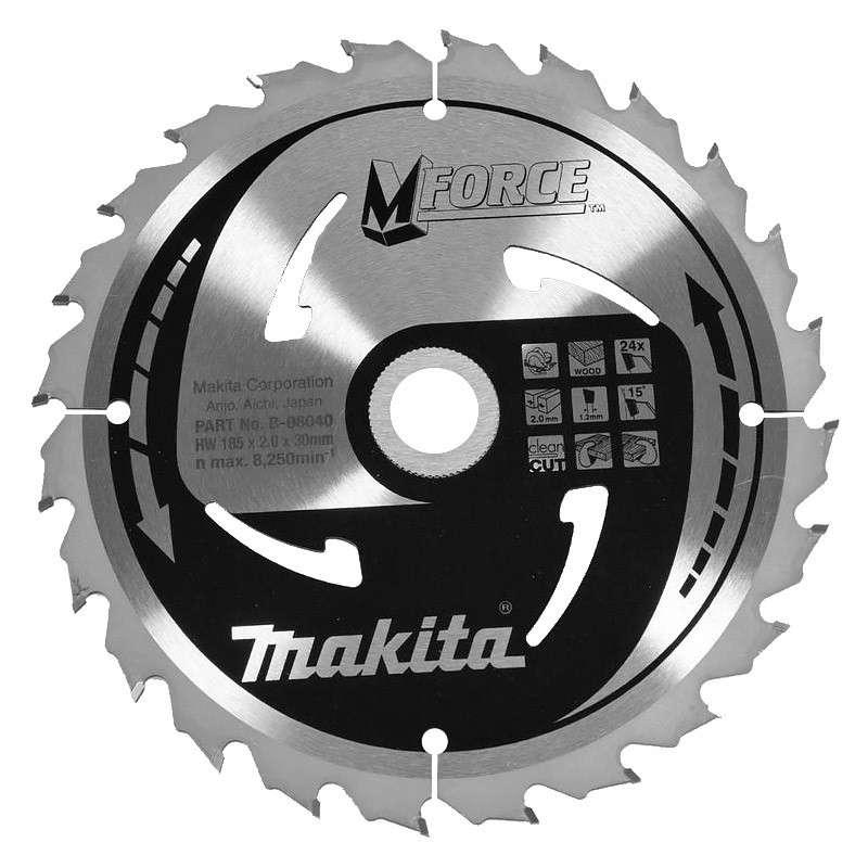 Lame carbure MAKITA B-08040 MForce pour bois pour scies circulaires Ø 185mm