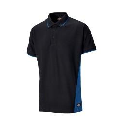 Polo manches courtes DICKIES TWO TONE - 280 g/m² - noir/bleu roi