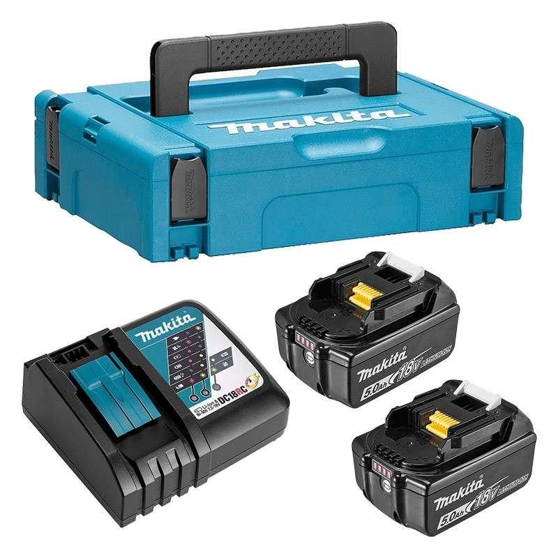 Pack MAKITA 197624-2 (Chargeur DC18RC + 2 Batteries BL1850B + Mak-Pac)