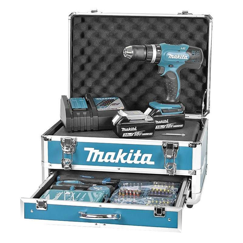 Visseuse-perceuse à percussion MAKITA DHP453RFX2 à batteries LXT 18V (2 X 3,0Ah)