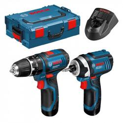 Pack BOSCH GSB 12 V-15 + GDR 12 V-105 2 x 2,0 Ah + L-Boxx