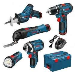 Kit Professionnel 5 outils BOSCH PRO sans fil 10,8V 2,0Ah en coffret L-BOXX