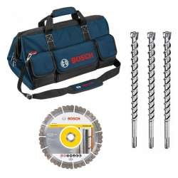 Kit 5 accessoires BOSCH 06159975H4 (3 Burins SDS-max 7 + Disque + Sac Outils)