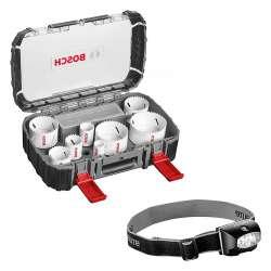 Coffret de 11 scies-cloches BOSCH PRO 2608580880 Progressor pour électricien + Lampe frontale offerte