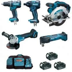 Pack 5 outils MAKITA DLX5010MX1 (DSS610 + DTD129 + DDF480 + DGA504 + DTM51) 18V (3x4,0Ah)