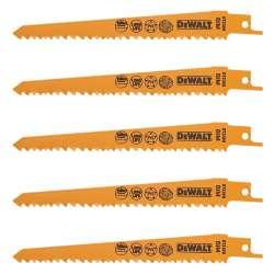 Coffret de 5 Lames DEWALT DT2359 pour scie sabre Bi-Métal 152mm