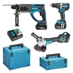 Pack 3 outils MAKITA DLX3093TJ (DHP484 + DHR202 + DGA513) 18V li-Ion (3x5Ah)