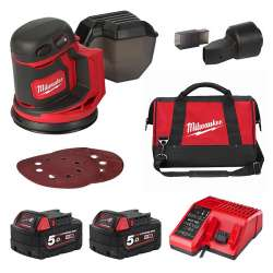 Ponceuse orbitale excentrique MILWAUKEE M18 BOS125-502B Ø 125mm (2x5Ah)
