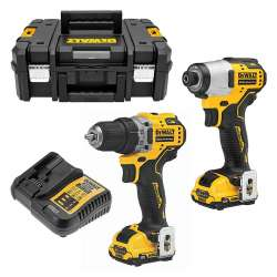 Pack Perceuse / Visseuse à chocs DEWALT DCK2110L2T 12V XR Brushless (2x3,0Ah)