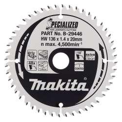 Lames carbure MAKITA B-29446 ''Specialized'' Bois stratifié pour scies circulaires à batteries Ø 136mm