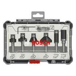 Coffret de 6 fraises droites Bosch Professional 2607017469 à araser et de bordage à queue de 8mm