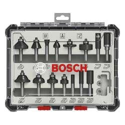 Coffret de 15 fraises mixtes Bosch Professional 2607017472 à queue de 8mm