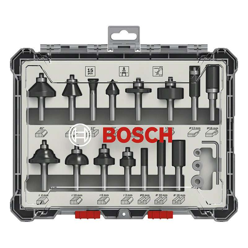 Coffret de 15 fraises mixtes Bosch Professional 2607017472 à queue de 8mm