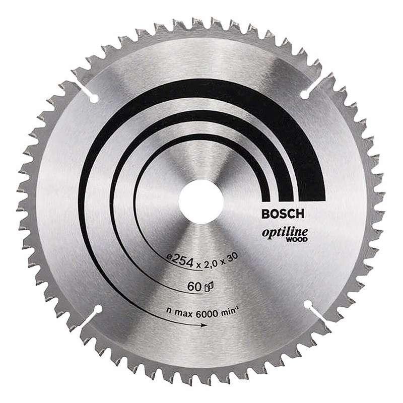 Lame BOSCH 2608640436 Optiline Wood Ø 254mm 60 dents pour scies à onglets et radiales