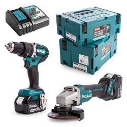 Pack 2 outils MAKITA DLX2210TJ1 (DGA506 + DHP484) 18V Li-Ion (2x5Ah)