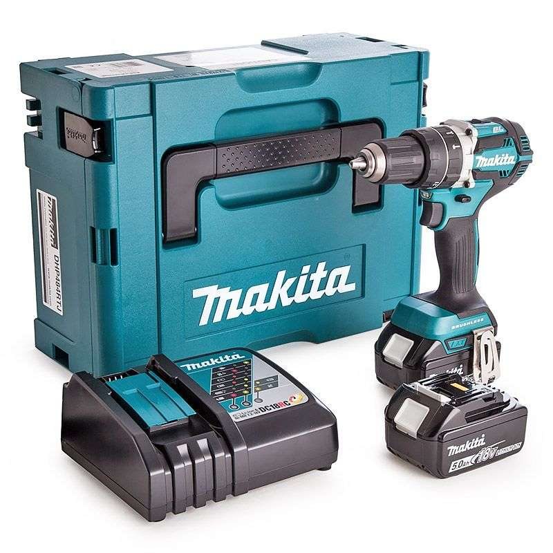 Perceuse visseuse à percussion MAKITA DHP484RTJ 18 V Li-ion Ø 13mm (2 x 5Ah)