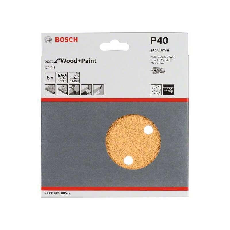 Lot de 5 feuilles abrasives BOSCH Professional C470 Best for Wood and Paint pour ponceuses excentriques Ø 150mm - 6 trous
