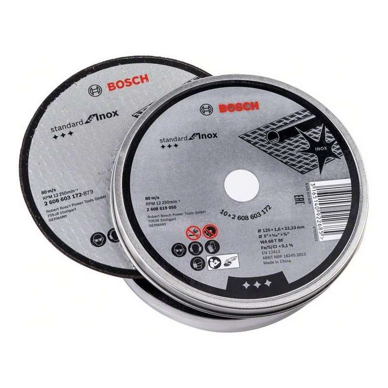 Lot de 10 disques à tronçonner Bosch Professional 2608619050 Standard for Inox Ø 125mm