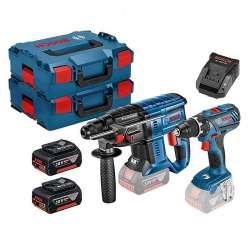 Pack 2 outils BOSCH 0615990K3Z (Perceuse GSR 18V-28 + Perforateur GBH 18V-20) Professional 18V (2x4Ah) + 2 L-Boxx