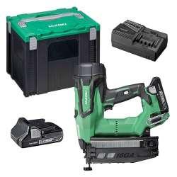 Cloueur sans fil HITACHI NT1865DBSL(WX) 18V (2x3Ah) /18GA / 16-50mm + Coffret Hit-Case