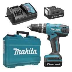 Perceuse visseuse à percussion MAKITA HP347DWE 14,4V Li-Ion (2x1,3Ah) Ø 10mm