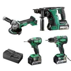 Pack 4 outils HITACHI KC18DG4LWB (DS18DBSL+WH18DBDL2+DH18DBL+G18DBL) 18V Li-ion (3x5,0Ah)