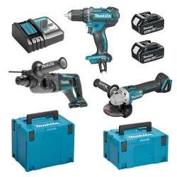 Pack 3 machines MAKITA DLX3078MJ (DDF482 + DGA504 + DHR241) 18V Li-Ion (2x4Ah)