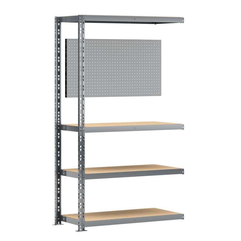 Extension établi-étagère charge lourde MODULÖ STORAGE avec 4 plateaux de 100 cm de long et 1 panneau (SYSTÈME EXTENSION)