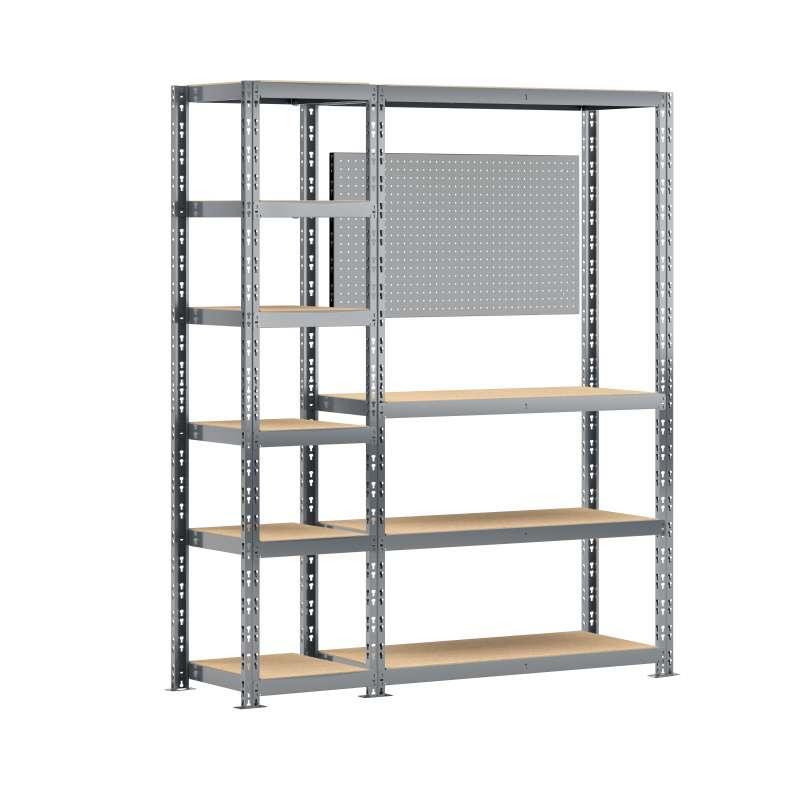 Concept rangement de garage MODULÖ STORAGE (SYSTEME EXTENSION) de 150 cm de long (2 étagères-établi 10 plateaux et un panneau)
