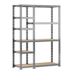 Concept rangement de garage MODULÖ STORAGE (SYSTEME EXTENSION) de 150 cm de long (2 étagères 10 plateaux et un panneau)
