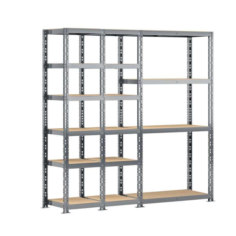 Concept rangement de garage MODULÖ STORAGE (SYSTEME EXTENSION) de 200 cm de long (3 étagères 16 plateaux)