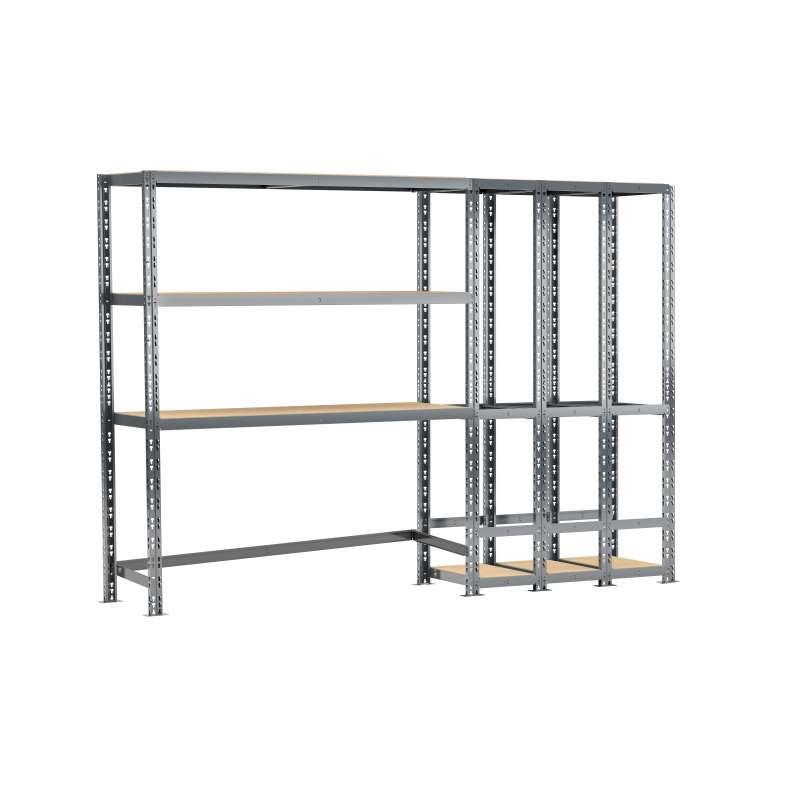 Concept rangement de garage MODULÖ STORAGE (SYSTEME EXTENSION) de 255 cm de long (2 étagères 5 plateaux)