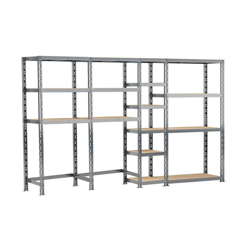Concept rangement de garage MODULÖ STORAGE (SYSTEME EXTENSION) de 290 cm de long (4 étagères 16 plateaux)