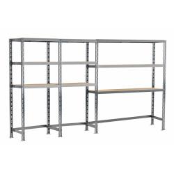 Concept rangement de garage MODULÖ STORAGE (SYSTEME EXTENSION) de 290 cm de long (3 étagères 9 plateaux)