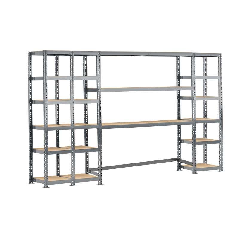 Concept rangement de garage MODULÖ STORAGE (SYSTEME EXTENSION) de 300 cm de long (4 étagères 21 plateaux)