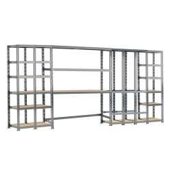 Concept rangement de garage MODULÖ STORAGE (SYSTEME EXTENSION) de 405 cm de long (5 étagères 21 plateaux)