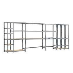 Concept rangement de garage MODULÖ STORAGE (SYSTEME EXTENSION) de 505 cm de long (5 étagères 16 plateaux)