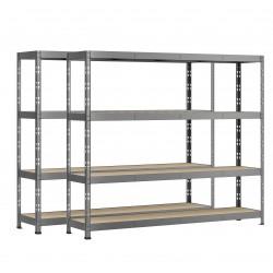Lot de 2 étagères Rack charge lourde MODULÖ STORAGE ROBBUST (4 plateaux - 220 x 40 cm - Hauteur 185 cm)