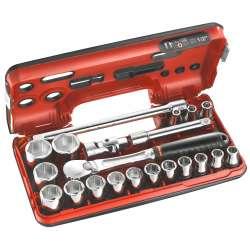 """Coffret de clé à cliquet étanche DBOX avec douilles 1/2"""" FACOM SL.DBOX1PB 6 pans (21 pièces)"""