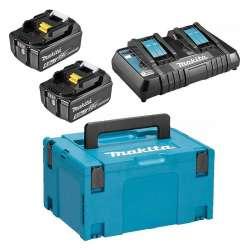 Pack Énergie MAKITA 197629-2 18V Li-Ion (2 batteries + 1 chargeur double) avec coffret MAKPAC