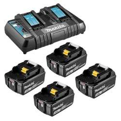 Pack Chargeur double MAKITA DC18RD + 4 Batteries MAKITA BL1830B