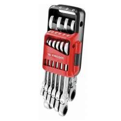 Jeu de 10 clés mixtes à cliquet articulées FACOM 467BF.JP10PB 8 à 19 mm